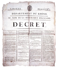 "Printed decree of the French Republic announcing the ""Coup d'Etat of the 18th Brumaire"""